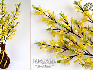 Мастерим весенний букет: цветы из лент. Форзиция. Ярмарка Мастеров - ручная работа, handmade.