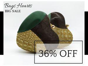 Скидка 36% на комбинированные сумочки-сердца. Ярмарка Мастеров - ручная работа, handmade.