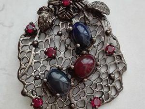 Видео Кулон черный опал родолит серебро  «Лия». Ярмарка Мастеров - ручная работа, handmade.