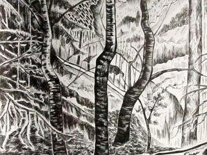 Графика, Пейзаж с лесом, размер 33 х 42 см. Ярмарка Мастеров - ручная работа, handmade.