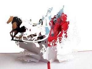 Дед Мороз к нам мчится — объемная открытка ручной работы. Ярмарка Мастеров - ручная работа, handmade.