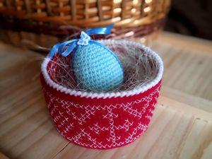 Пасхальная корзинка крючком с вышивкой крестом для новичков. Ярмарка Мастеров - ручная работа, handmade.