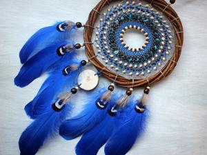 Как сделать индейский ловец снов с деревянным спилом. Ярмарка Мастеров - ручная работа, handmade.