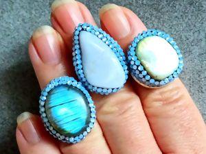 Новинки магазина ! Голубые кольца, сапфирин, лабрадорит, перламутр. Ярмарка Мастеров - ручная работа, handmade.