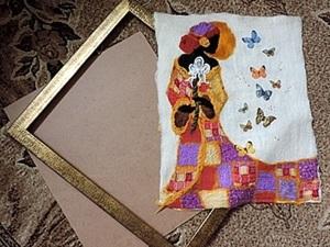 Один из вариантов оформления валяной картины в багет. Ярмарка Мастеров - ручная работа, handmade.