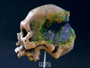 ВИДЕО. Брошь-игла Череп из полимерной глины, череп человека украшение аметист. Ярмарка Мастеров - ручная работа, handmade.