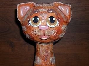Кошка на бутылке.Лепим из солёного теста.. Ярмарка Мастеров - ручная работа, handmade.