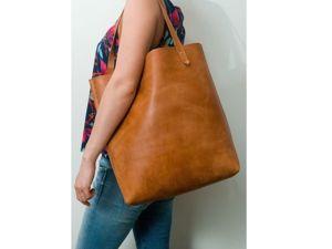 Шьем сумку-шоппер из натуральной толстой кожи без машинки и навыков шитья. Ярмарка Мастеров - ручная работа, handmade.