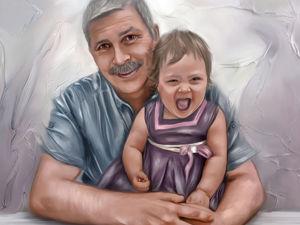 Подарок-портрет дедушке. Ярмарка Мастеров - ручная работа, handmade.