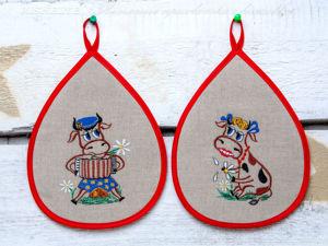 Прихватки для кухни в год Быка. Ярмарка Мастеров - ручная работа, handmade.