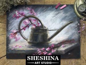 Видеоурок: рисуем сухой пастелью на наждачной бумаге старую металлическую лейку с цветущими ветвями. Ярмарка Мастеров - ручная работа, handmade.