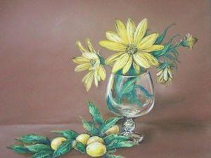 Рисуем натюрморт с цветами сухой пастелью. Ярмарка Мастеров - ручная работа, handmade.