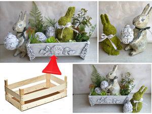 Пасхальный декор из ящиков от фруктов и бросового материала. Ярмарка Мастеров - ручная работа, handmade.