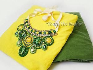 DIY Project on Making a Green and Yellow Necklace out of Beads and Gems. Livemaster - handmade