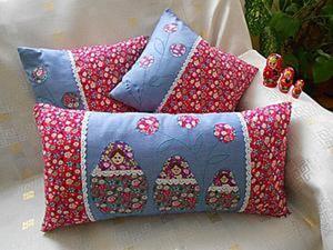 Шьём комплект чехлов «Матрёшки» для декоративных подушек. Ярмарка Мастеров - ручная работа, handmade.