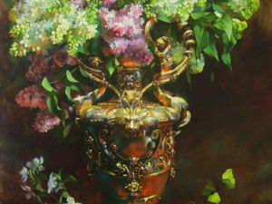 Painting Lilac in a Golden Vase in the Layered Flemish Technique. Livemaster - hecho a mano - handmade.