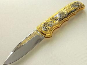 Нож складной золотой  «Пара волков»  z10863. Ярмарка Мастеров - ручная работа, handmade.