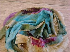 """Нуно-войлочный шарф """"Лагуна"""" или утилизация отходов. Ярмарка Мастеров - ручная работа, handmade."""