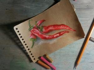 Рисуем перец масляной пастелью. Очень ленивый скетч. Ярмарка Мастеров - ручная работа, handmade.