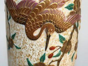 """Старинная ваза , """"Royal Worcester"""", Англия, 1876 год. Японский стиль, сюжет """"Журавль и цветущая сакура"""". Ярмарка Мастеров - ручная работа, handmade."""