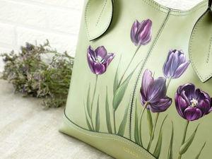 Роспись сумки акриловыми красками. Рисуем красивые тюльпаны. Ярмарка Мастеров - ручная работа, handmade.