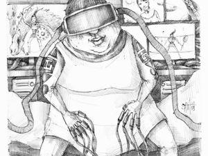 День 275. Набросок ручкой по сюжету подписчика Оливера Милешина  «Обнаженная зомбированная технологиями девушка, которая сидит на кровати в VR-очках.». Ярмарка Мастеров - ручная работа, handmade.