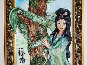 """Картина из соленого теста """"Японка и дракон"""". Ярмарка Мастеров - ручная работа, handmade."""