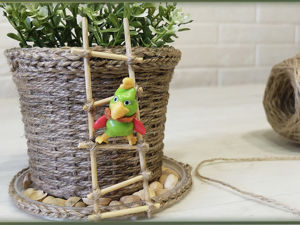 Плетем кашпо из джута. Ярмарка Мастеров - ручная работа, handmade.