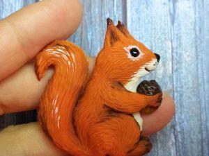 Видео мастер-класс: белочка с орешком из полимерной глины. Ярмарка Мастеров - ручная работа, handmade.