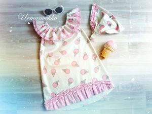 Шьем яркое летнее платье для девочки «Клубничное мороженое». Ярмарка Мастеров - ручная работа, handmade.