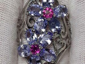 Кольцо с натуральными танзанитами  « Лесная фиалка» . Ярмарка Мастеров - ручная работа, handmade.