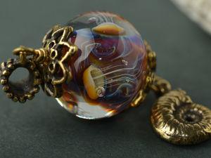 Стеклянный кулон с медузами. Ярмарка Мастеров - ручная работа, handmade.