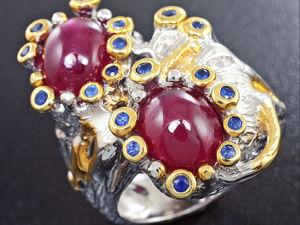 Акция! На Кольцо «Квинтэссенция любви» с рубинами и сапфирами. Ярмарка Мастеров - ручная работа, handmade.