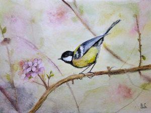 Рисуем синицу на цветущей ветке акварелью. Ярмарка Мастеров - ручная работа, handmade.
