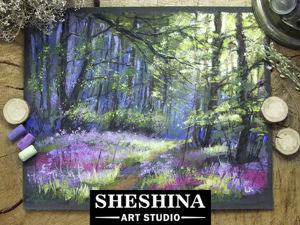 Рисуем весенний лес сухой пастелью. Ярмарка Мастеров - ручная работа, handmade.