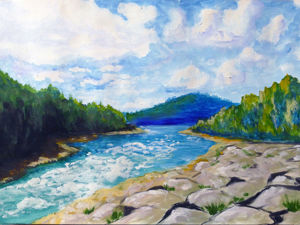 Рисуем гуашью летний пейзаж. Ярмарка Мастеров - ручная работа, handmade.