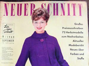 Neuer Schnitt — старый немецкий журнал мод 9/1960. Ярмарка Мастеров - ручная работа, handmade.