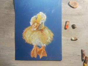 Нарисуем утенка сухой пастелью. Ярмарка Мастеров - ручная работа, handmade.
