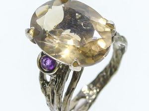 Серебряное кольцо с раухтопазом, размер 17,5. Ярмарка Мастеров - ручная работа, handmade.