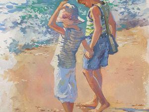 Я рисую гуашью небольшую картину Дети у моря. Ярмарка Мастеров - ручная работа, handmade.