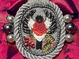 Вышиваем нитью, бисером и бусинами винтажную брошь «Королевский снегирь». Часть 1. Ярмарка Мастеров - ручная работа, handmade.