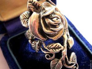 АУКЦИОН: Винтажное серебряное кольцо  «РОЗА» , Ар-Нуво, Франция, 1970е. Ярмарка Мастеров - ручная работа, handmade.