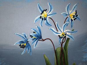 Интерьерная картина с весенними цветами  « Таинственные пролески ». Ярмарка Мастеров - ручная работа, handmade.