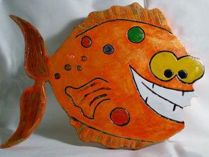 Делаем панно из гипса «Мультяшная рыба»: видео мастер-класс. Ярмарка Мастеров - ручная работа, handmade.