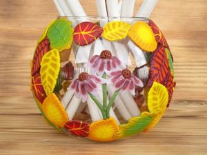 Мастер-класс: ваза «Осенняя фантазия» с декором из полимерной глины. Ярмарка Мастеров - ручная работа, handmade.