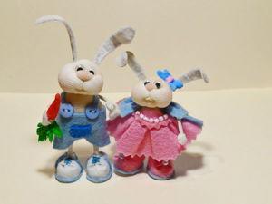 Мастерим миниатюрных зайчиков в чулочной технике. Ярмарка Мастеров - ручная работа, handmade.