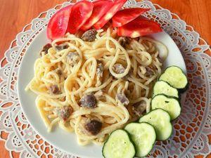 Спагетти с куриными желудками тушеными в сметане. Ярмарка Мастеров - ручная работа, handmade.