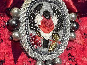 Вышиваем нитью, бисером и бусинами винтажную брошь «Королевский снегирь». Часть 2. Ярмарка Мастеров - ручная работа, handmade.