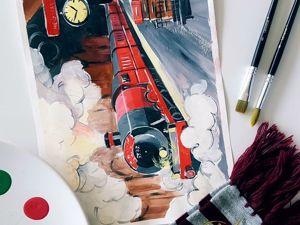Рисуем мир Гарри Поттера: Хогвартс-экспресс. Ярмарка Мастеров - ручная работа, handmade.