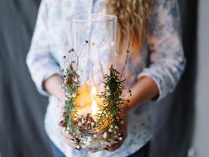 Подсвечник из вазы и природных материалов. Ярмарка Мастеров - ручная работа, handmade.